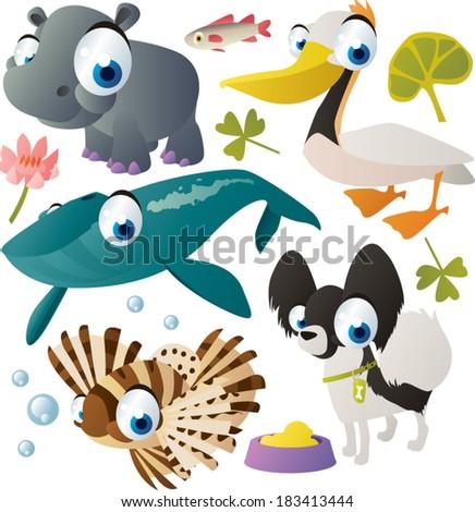 vector animal set: hippo, whale, zebra-fish, dog, pelican - stock vector