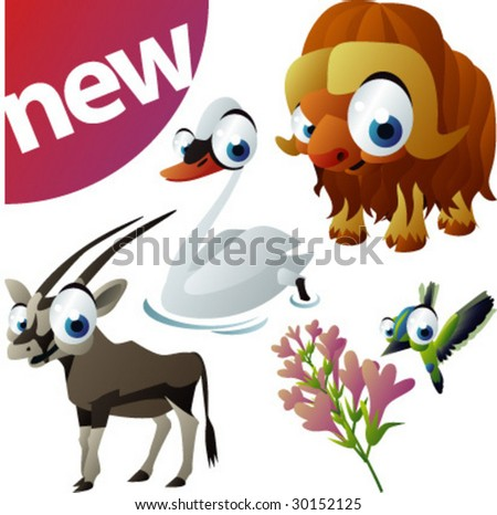 vector animal set 251: swan, humming-bird , muskox, antelope - stock vector