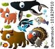 vector animal set: whale, pig, fish, turkey, bull - stock vector