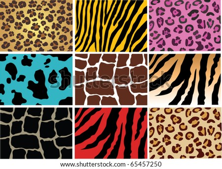 vector animal skin of different wild and domestic animals - stock vector