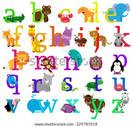 Vector Animal Themed Alphabet - stock vector