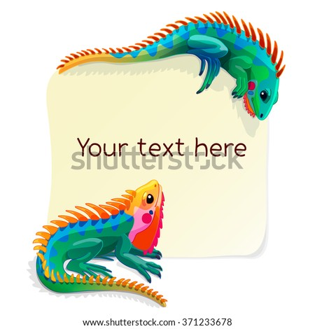vector animals banner. Two multicolored iguanas and a blank form for your text. clipart isolated on white background. EPS 10   - stock vector