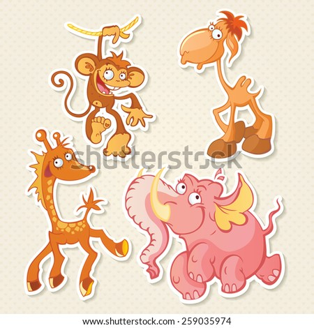 Vector animals cartoon characters. Cool Sticker designs