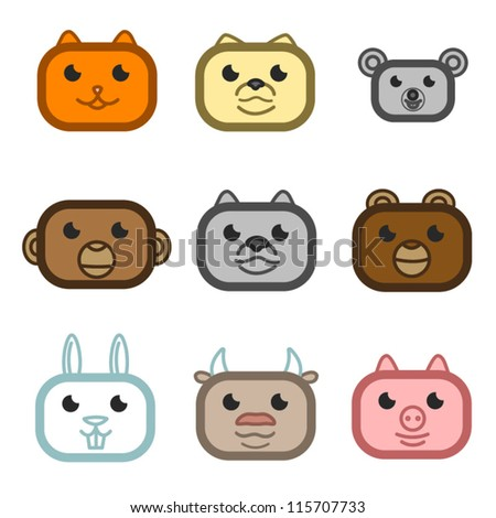Vector animals cat, dog, mouse, monkey, wolf, bear, rabbit, cow, pig