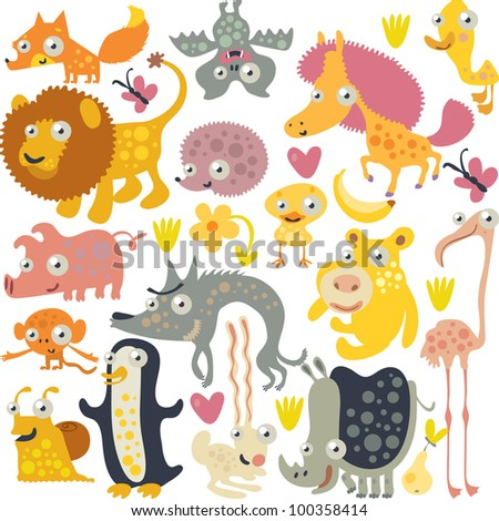 vector animals: fox, bat, horse, duck, hedgehog, lion, chicken, flamingo, rhinoceros, wolf, pig, monkey, penguin, snail and hare - stock vector