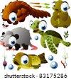 vector animals: pangolin, marmot, opossum, turtle, fish - stock vector