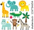 Vector animals set - stock vector