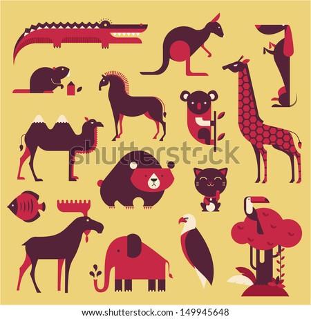 vector animals set - stock vector