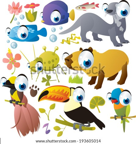 Vector Animals Set: fish, aphid, capybara, giant otter, toucan, bird of paradise, parrot - stock vector