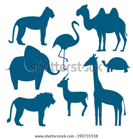 Vector animals set including giraffe, turtle, elephant, lion, leopard, flamingo, gazelle, camel / Flat design /Vector illustration silhouette of animals - stock vector