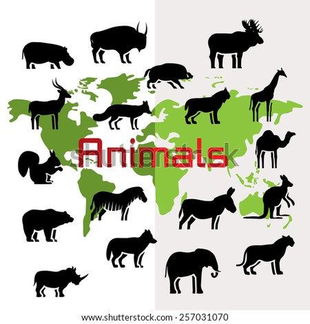 Vector animals silhouettes on world map, flat style - stock vector