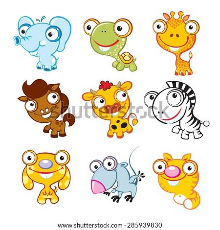 Vector animals sticker style. Vector animals. Big eyes animals. Cute animals. Africa world.  - stock vector