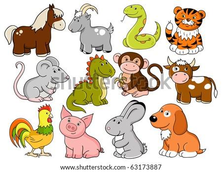 Vector animals - symbols of chinese horoscope - stock vector