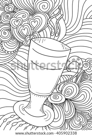 vector anti stress pattern for coloring book. abstract ornament with cocktail glass, black line art on white background. Ethnic retro design in zentangle style - stock vector
