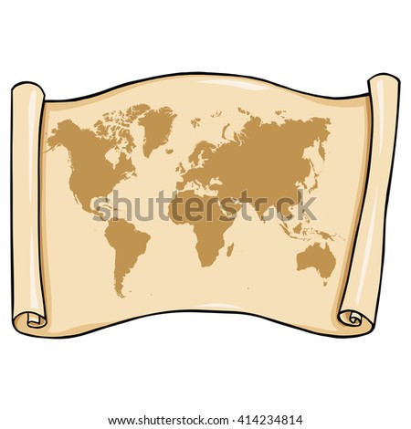 Vector Antient Scroll with World Map - stock vector