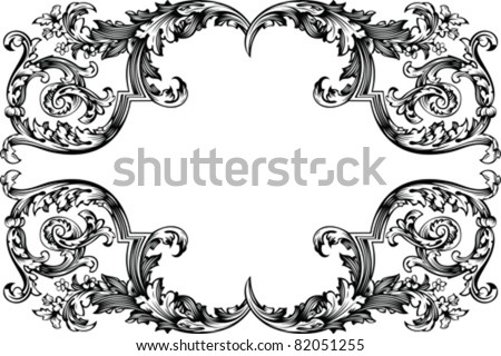 Vector Antique Vintage Frame. Isolated On White For Design. - stock vector
