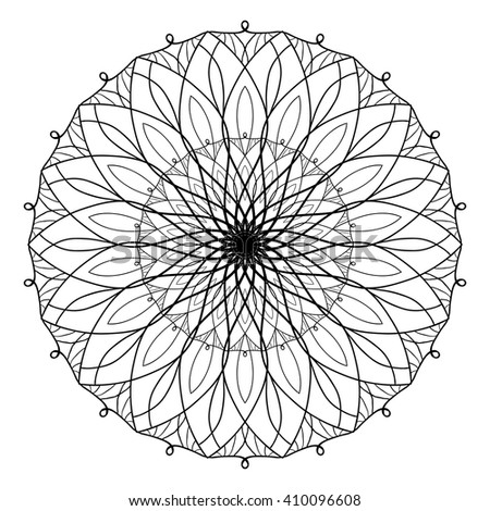 Vector antistress coloring book with geometric mandala. Coloring book for adults. Anti stress and relaxation
