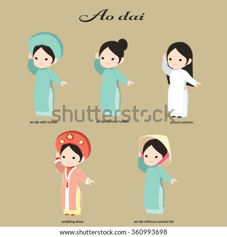 Vector Ao dai. Vietnamese Long dress. Asian conical hat. Traditional Vietnamese wedding dress