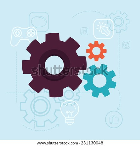 Vector app development concept in flat style - gears and mechanism on blue background with icons and buttons