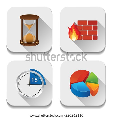 Vector app icons, illustration of application icons set - stock vector