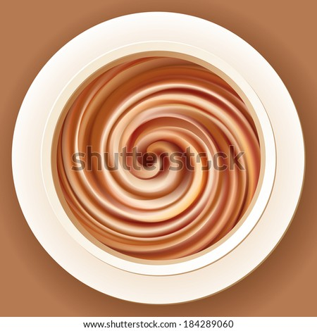 Vector appetizing background of mixed brown cream in a white bowl - stock vector