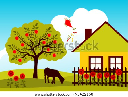 vector apple tree, goat and cottage with picket fence - stock vector