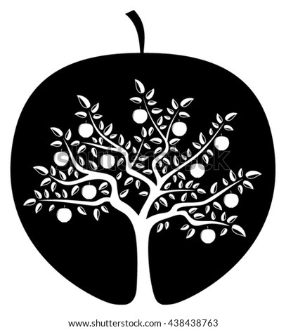 vector apple tree in apple isolated on white background