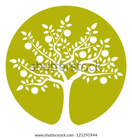 vector apple tree isolated on green round - stock vector
