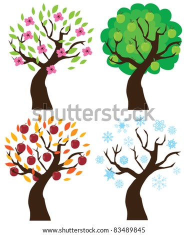 vector apple trees set