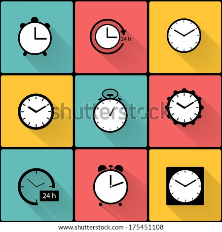 Vector application colorful clocks icons set in flat design with long shadows - stock vector