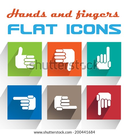 Vector Application hands Icons Set in Flat Design with Long Shadows - stock vector