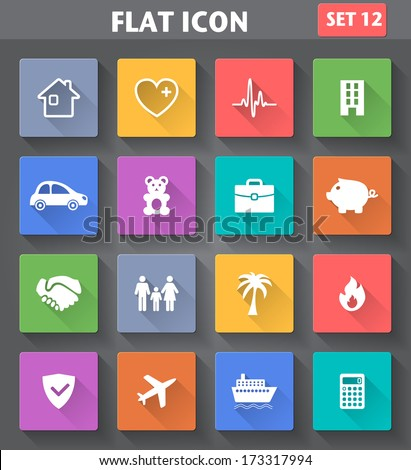 Vector application Insurance Icons set in flat style with long shadows. - stock vector