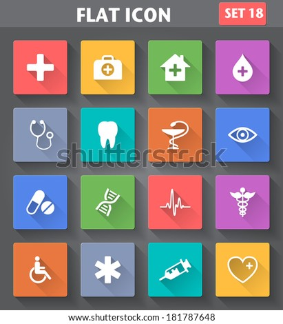 Vector application Medical Icons set in flat style with long shadows. - stock vector