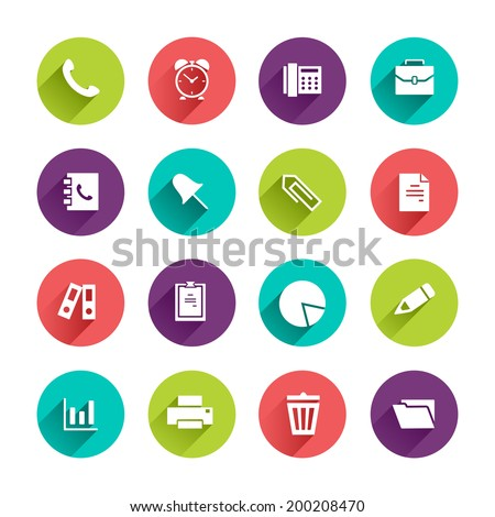 Vector Application  Office and Business Icons Set in Flat Design with Long Shadows on circle buttons with phone alarm clock fax briefcase pin document file folder diagram pen printer trash can signs - stock vector