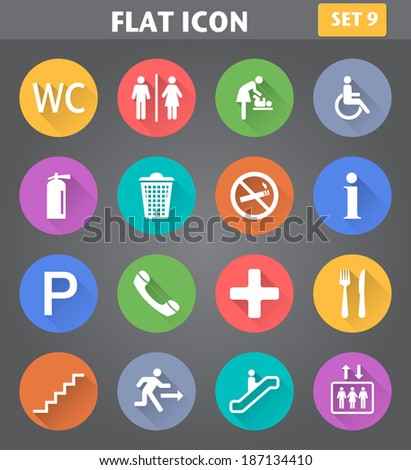 Vector application Public Icons set in flat style with long shadows. - stock vector