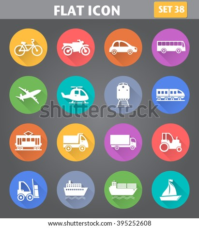Vector application Transport Icons set in flat style with long shadows. - stock vector