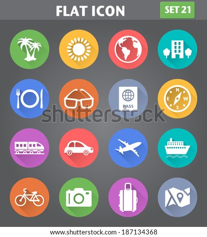 Vector application Travel and Vacation Icons set in flat style with long shadows. - stock vector