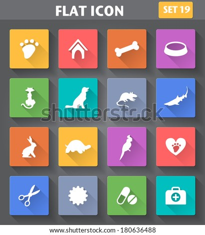 Vector application Veterinary Pet Icons set in flat style with long shadows. - stock vector