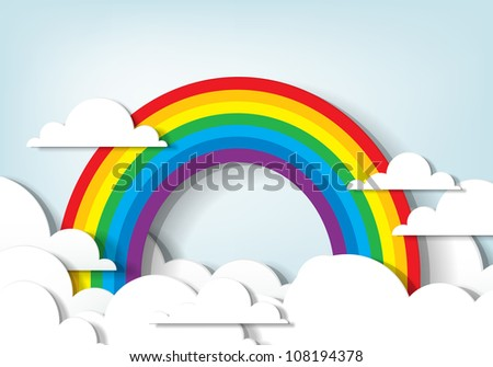 Vector applique. Rainbow and clouds - stock vector