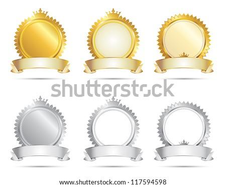 Vector Approval Seal Gold & Silver Set - stock vector