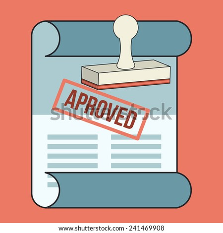 Vector Approved Contract  Flat Line Icon - stock vector
