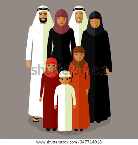 vector arab family, muslim people, saudi cartoon man and woman - stock vector
