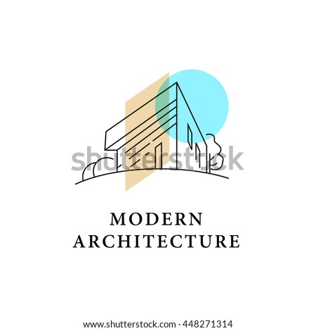 Delightful Vector Architect Studio Logo Design Isolated On White Background. Architect  Bureau Insignia Icon. Home
