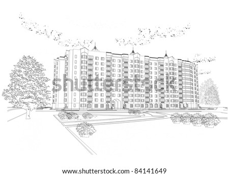 Vector architectural black and white background (see jpeg version in my portfolio) - stock vector