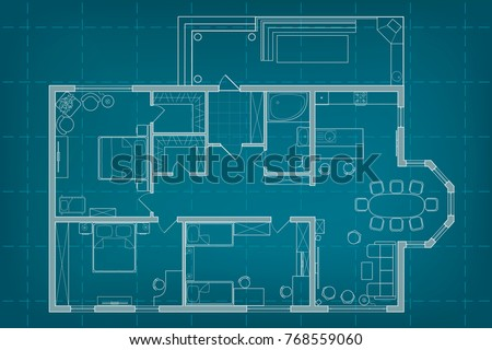 Vector architectural blueprint top view floor stock vector hd vector architectural blueprint top view floor plan of the house layout and furniture on background malvernweather Choice Image