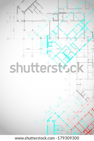 Vector architectural white background with colored plans of building - stock vector