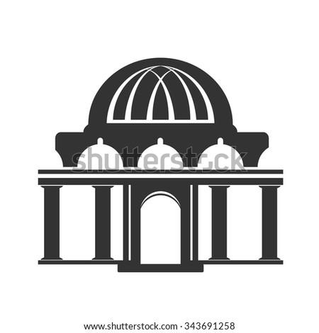 Vector architecture building symbol, historical building, black icon of temple - stock vector