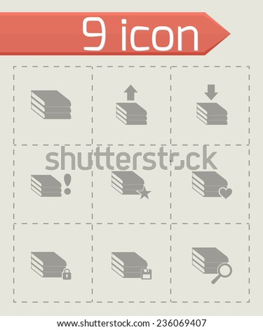 Vector archive icon set on grey background