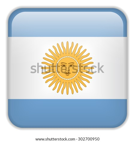 Vector - Argentina Flag Smartphone Application Square Buttons - stock vector