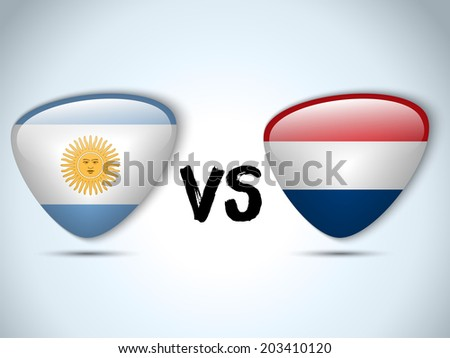 Vector - Argentina versus Netherlands Flag Soccer Game - stock vector